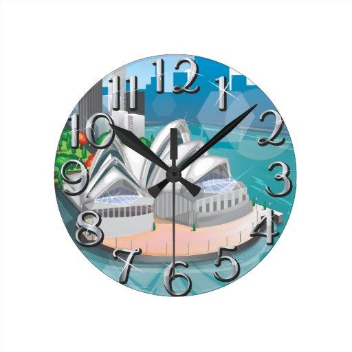 The Sydney Opera House Round Wallclock