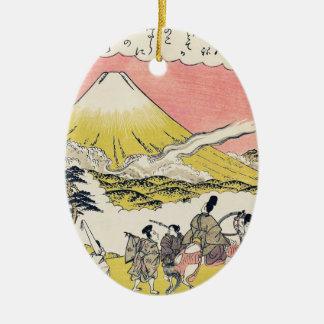 The Syllable He  Passing Mount Fuji japanese art Ceramic Ornament