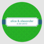 The Sylvia in Navy and Green Wedding Sticker/Label