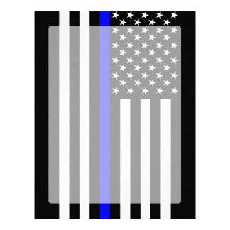 The Symbolic Thin Blue Line American Flag Letterhead