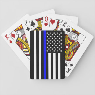 The Symbolic Thin Blue Line American Flag Playing Cards