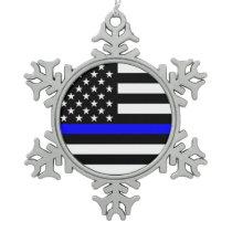 The Symbolic Thin Blue Line American Flag Snowflake Pewter Christmas Ornament