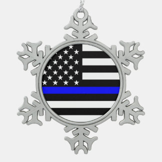 The Symbolic Thin Blue Line American Flag Snowflake Pewter Christmas Ornament