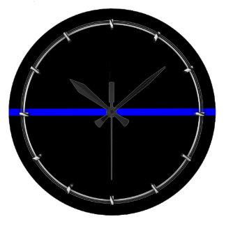 The Symbolic Thin Blue Line Decor Large Clock