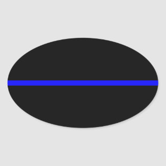 The Symbolic Thin Blue Line Decor Oval Sticker