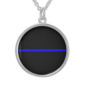The Symbolic Thin Blue Line Decor Round Pendant Necklace