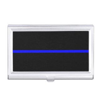 The Symbolic Thin Blue Line Horizontal Black Business Card Case