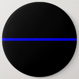 The Symbolic Thin Blue Line Horizontal Black Pinback Button