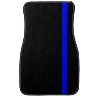 The Symbolic Thin Blue Line on a black decor Car Floor Mat