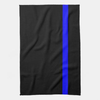 The Symbolic Thin Blue Line on a black decor Hand Towel