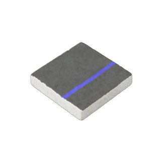 The Symbolic Thin Blue Line on a black decor Stone Magnet