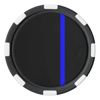 The Symbolic Thin Blue Line on Black Poker Chips
