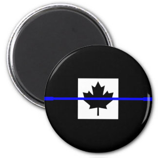 The Symbolic Thin Blue Line on Canadian Flag 2 Inch Round Magnet