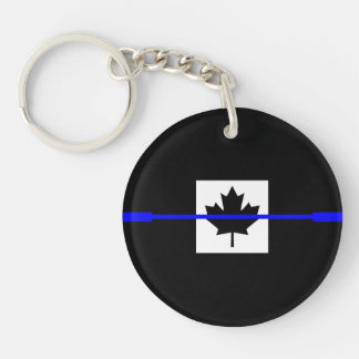 The Symbolic Thin Blue Line on Canadian Flag Keychain