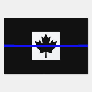 The Symbolic Thin Blue Line on Canadian Flag Lawn Sign