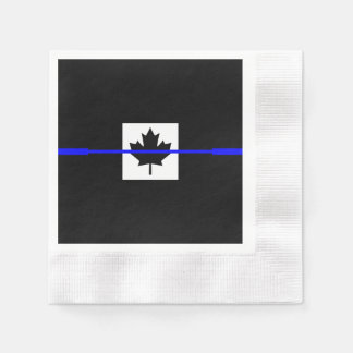 The Symbolic Thin Blue Line on Canadian Flag Paper Napkin