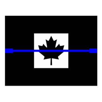 The Symbolic Thin Blue Line on Canadian Flag Postcard