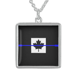 The Symbolic Thin Blue Line on Canadian Flag Square Pendant Necklace