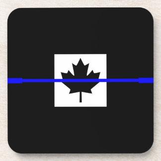 The Symbolic Thin Blue Line on Canadian Maple Leaf Beverage Coaster