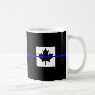 The Symbolic Thin Blue Line on Canadian Maple Leaf Coffee Mug