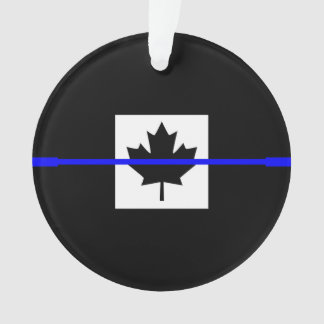 The Symbolic Thin Blue Line on Canadian Maple Leaf Ornament