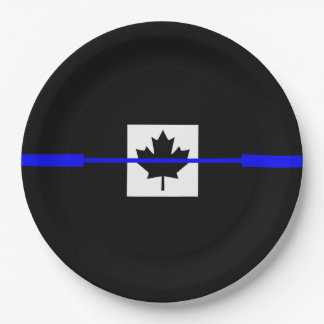 The Symbolic Thin Blue Line on Canadian Maple Leaf Paper Plate