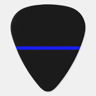 The Symbolic Thin Blue Line on Solid Black Guitar Pick