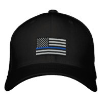 The Symbolic Thin Blue Line on US Flag Embroidered Baseball Cap