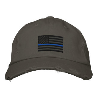 The Symbolic Thin Blue Line on US Flag Embroidered Baseball Hat