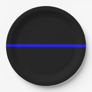 The Symbolic Thin Blue Line Statement Paper Plate