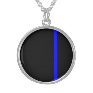 The Symbolic Thin Blue Line Vertical Round Pendant Necklace