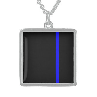 The Symbolic Thin Blue Line Vertical Sterling Silver Necklace