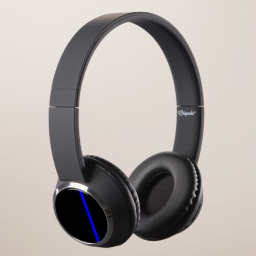 The Symbolic Thin Blue Line Vertical Style Headphones