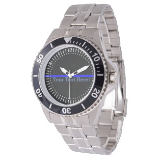 The Symbolic Thin Blue Line Watch with Your Text