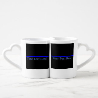 The Symbolic Thin Blue Line Your Text on Black Coffee Mug Set