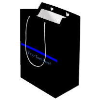 The Symbolic Thin Blue Line Your Text on Black Medium Gift Bag