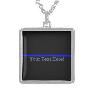 The Symbolic Thin Blue Line Your Text on Black Square Pendant Necklace