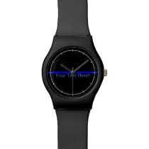 The Symbolic Thin Blue Line Your Text on Black Wrist Watch