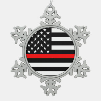 The Symbolic Thin Red Line American Flag on a Snowflake Pewter Christmas Ornament
