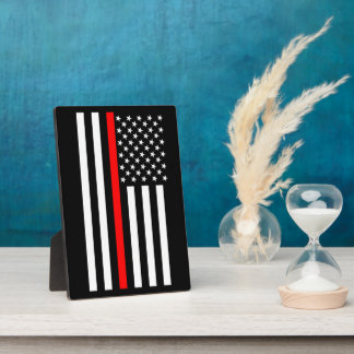 The Symbolic Thin Red Line American Flag Plaque