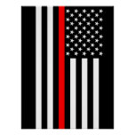 The Symbolic Thin Red Line American Flag Poster