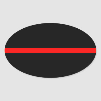 The Symbolic Thin Red Line Decor on a Oval Sticker