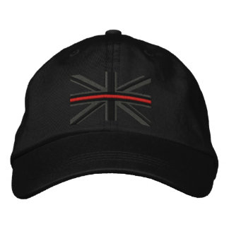 The Symbolic Thin Red Line on UK Flag Embroidered Baseball Cap