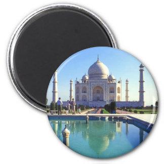 The Taj Mahal at Agra India 2 Inch Round Magnet