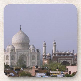 the Taj Mahal dominates the town of Agra Beverage Coaster