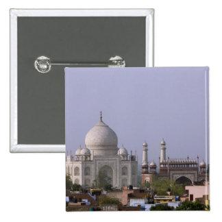 the Taj Mahal dominates the town of Agra Pinback Button