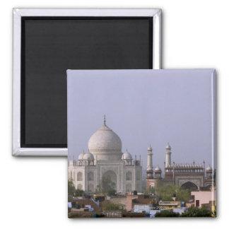 the Taj Mahal dominates the town of Agra Magnet