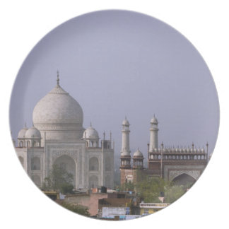 the Taj Mahal dominates the town of Agra Plate