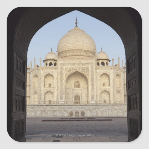 the Taj Mahal framed in the Mehmankhana doorway Square Stickers