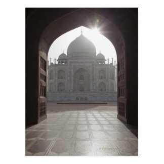 The Taj Mahal framed through the doorway to the Postcard